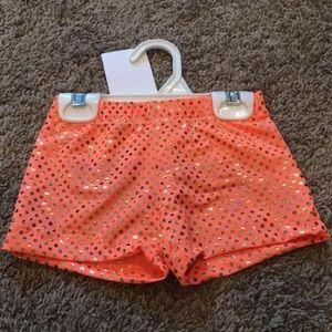 Other - 4-10 Orange Cheer Dance Gymnastics Bike Shorts NWT